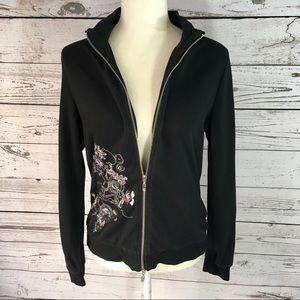 BCBGMaxazria Black with pink embroidery zip jacket
